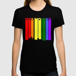 Des Moines Iowa Gay Pride Rainbow Skyline T-shirt