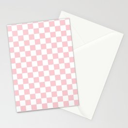 Large White and Light Millennial Pink Pastel Color Checkerboard Stationery Cards