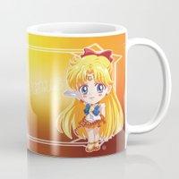 sailor venus Mugs featuring Chibi Sailor Venus by Neo Crystal Tokyo