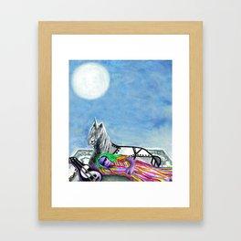 Unicorn and The Sleeping Robot Framed Art Print