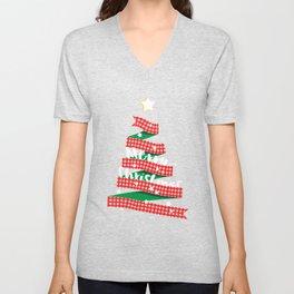 Merry Christmas Buffalo Checks Ribbon Tree Unisex V-Neck