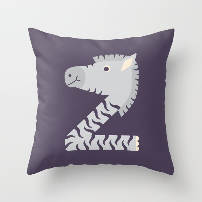 Letter Z // Animal Alphabet // Zebra Monogram Throw Pillow