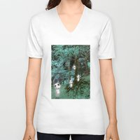kodama V-neck T-shirts featuring Kodama in the woods by pkarnold + The Cult Print Shop
