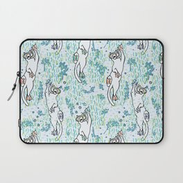 Cute Aqua Cartoon Diving Cats Vector Pattern Laptop Sleeve