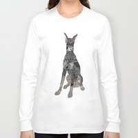 doberman Long Sleeve T-shirts featuring Sitting Doberman by K J Guindon