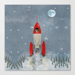 mr fox goes to the moon Canvas Print