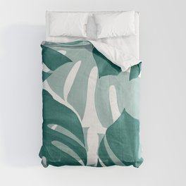 Monstera Leaves Vibes #1 #tropical #foliage #decor #art #society6 Comforters
