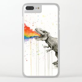 T-Rex Rainbow Puke Clear iPhone Case