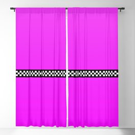 Hot Pink Taxi with Black and White Checkerboard Band Blackout Curtain