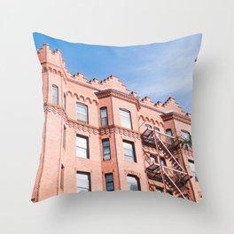 Boston Building Fire Escape Throw Pillow