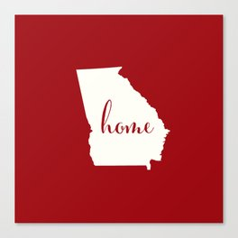 Georgia is Home - Red on White Canvas Print