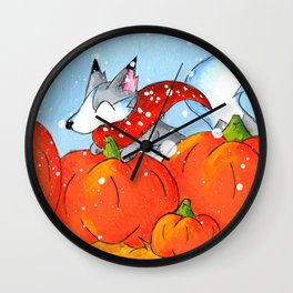 Wolf in the Pumpkin Patch Wall Clock