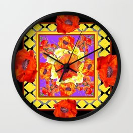 ABSTRACTED BLACK ORANGE-RED POPPIES DECORATIVE FLORAL Wall Clock