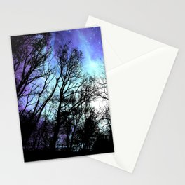 black trees periwinkle blue aqua space Stationery Cards