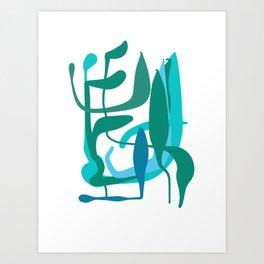 Zen Green Blue Abstract Shapes of Natural Life Art Print