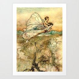 """Bear the Changeling to My Bower"" Art by Arthur Rackham Art Print"