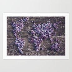 Lilac world map Art Print