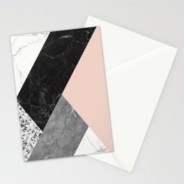 Black and White Marbles and Pantone Pale Dogwood Color Stationery Cards