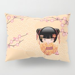 Japanese Ume Kokeshi Doll Pillow Sham