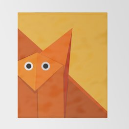 Geometric Cute Origami Fox Portrait Throw Blanket
