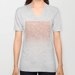Modern faux rose gold glitter ombre modern chevron stitches pattern Unisex V-Neck