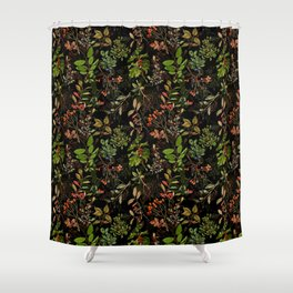 Vintage & Shabby Chic - vintage botanical wildflowers and berries on black Shower Curtain