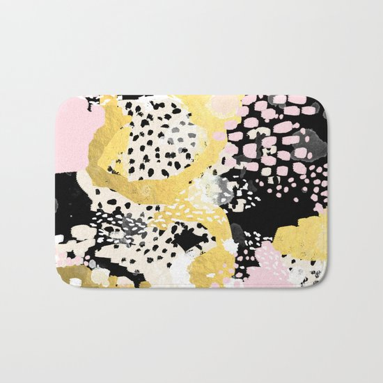 Simone - abstract painting gold foil trendy hipster pastel pink modern trendy colors decor college Bath Mat