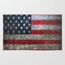 usa  steel flag america Rug