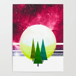 057 - three brother trees standing before the cosmic moonrise Poster