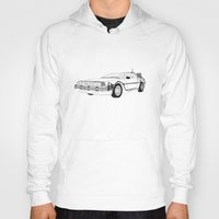 delorean Hoodies featuring DeLorean DMC-12 by Martin Lucas