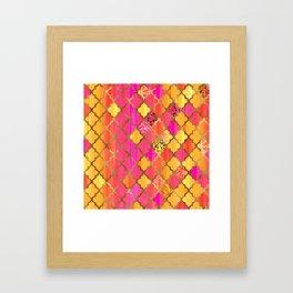 Moroccan Tile Pattern In Pink, Red, Orange, And Gold Framed Art Print