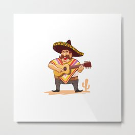 Mexican With Sombrero Guitar Metal Print