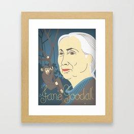 Jane Goodall Portrait Framed Art Print