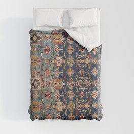 Dusty Blue Green Kuba 19th Century Authentic Colorful Yellow Bands Vintage Patterns Duvet Cover
