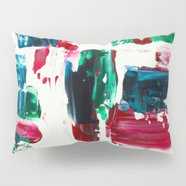 Jingle all the way green blue red white acrylic abstract brushstrokes christmas pattern Pillow Sham