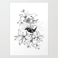 Ghost + Flowers Art Print