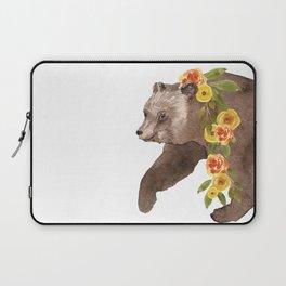 Bear with flower boa Laptop Sleeve