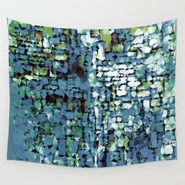 Blue Green Abstract Geometric Low Poly Modern Art Wall Tapestry