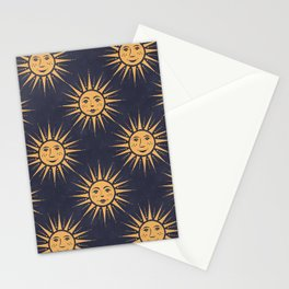 Freckled Suns - blue and gold Stationery Cards