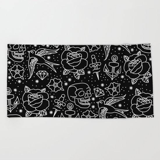 Black flash Beach Towel