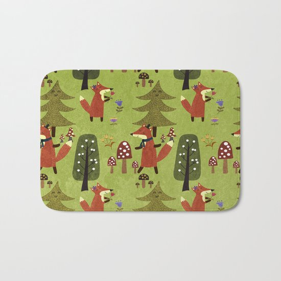 Happy foxes in the forest - Cute Fox Pattern Bath Mat