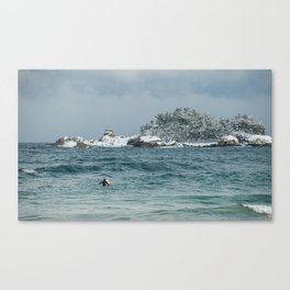 Lone Korean surfer on the 38th Parallel, South Korea Canvas Print