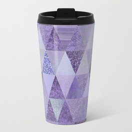 Glamorous Purple Faux Glitter And Foil Triangles Travel Mug
