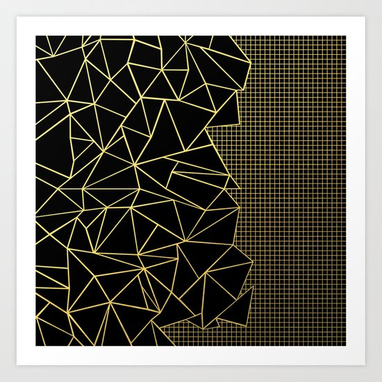 Abstract Outline Grid Gold Art Print