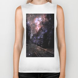 Train Tracks : Next Stop Anywhere Coral Biker Tank