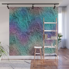 Textured Ombre Aqua and Purple Opalescent Foil Wall Mural