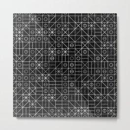 Black and White Random Grid Metal Print