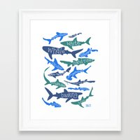 sharks Framed Art Prints featuring SHARKS! by Jen Richards