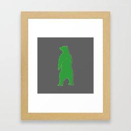 Papa bear in the dark - green Framed Art Print