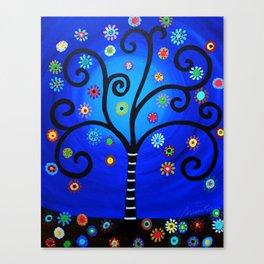 Folk art Tree of Life Painting Canvas Print